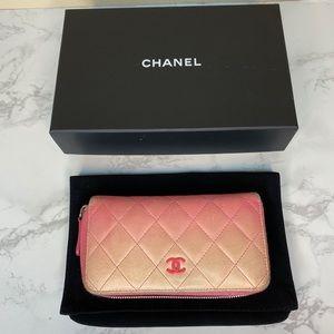 CHANEL Ombré Calfskin Wallet Pink Authentic